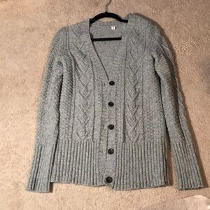 Gray cable knit long cardigan